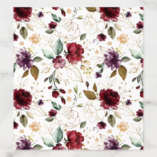 Dark Red, Purple, Gold Watercolor Flowers Envelope Liner