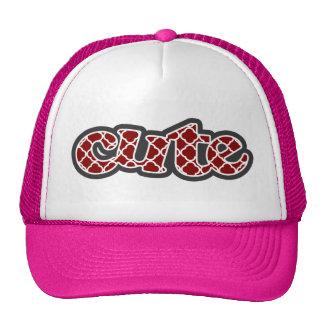 Dark Red Quatrefoil Mesh Hat