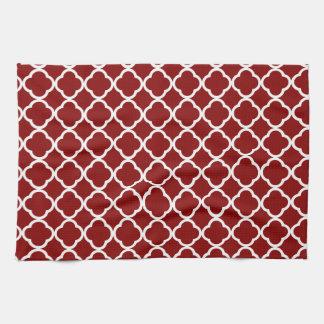 Dark Red Quatrefoil Kitchen Towels