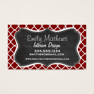Dark Red Quatrefoil; Vintage Chalkboard look Business Card
