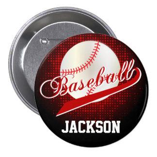 Dark Red Retro Baseball Style 3 Inch Round Button