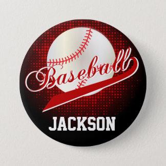 Dark Red Retro Baseball Style Pinback Button