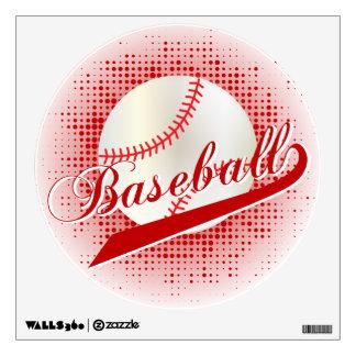 Dark Red Retro Baseball Style Wall Decal
