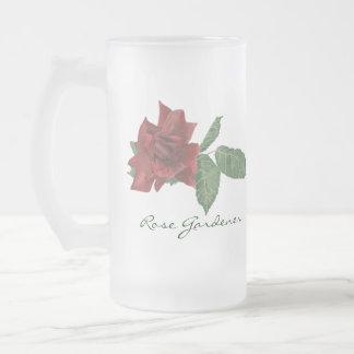 Dark Red Rose Beer Stein 16 Oz Frosted Glass Beer Mug