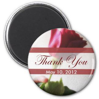 Dark Red Rose Temptation Thank You 2 Inch Round Magnet