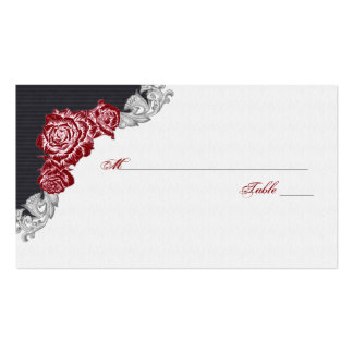 Dark Red Rose Wedding Place or Escort Cards Double-Sided Standard Business Cards (Pack Of 100)