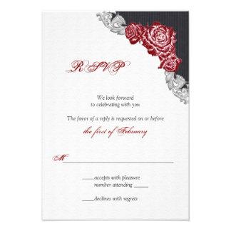 Dark Red Rose Wedding RSVP Card Personalized Invitations