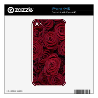 Dark red roses decal for iPhone 4