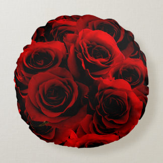 Dark Red Roses For you Round Pillow