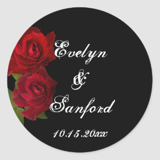 Dark red roses gothic wedding favor name tag label stickers