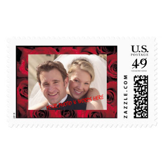 Dark Red Roses Photo Frame (1), Horiz Couple 1 Postage Stamp