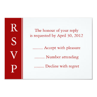 Dark Red RSVP, Response or Reply Cards Personalized Announcement