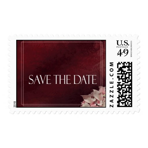 Dark Red Save the date Postage