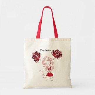 Dark Red Silhouette Cheerleader Girl Tote Bag
