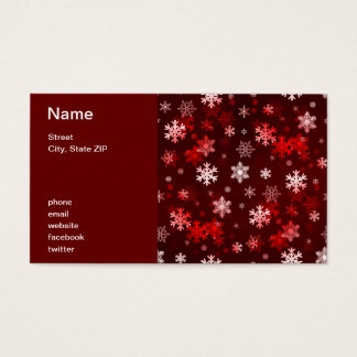 Dark Red Snowflakes Business Card