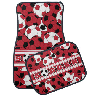 Dark Red Soccer Ball Collage Car Mat