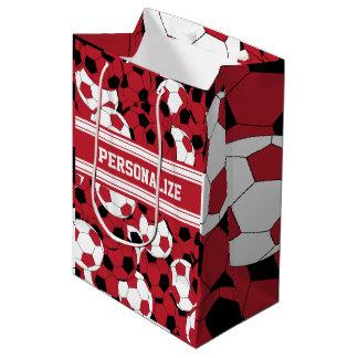 Dark Red Soccer Ball Collage Medium Gift Bag