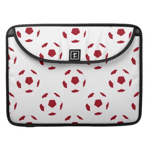Dark Red Soccer Ball Pattern Sleeves For MacBooks