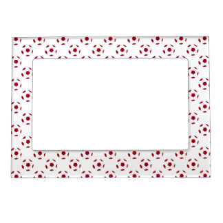 Dark Red Soccer Ball Pattern Magnetic Picture Frames