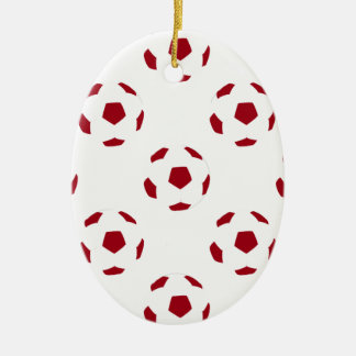 Dark Red Soccer Ball Pattern Double-Sided Oval Ceramic Christmas Ornament