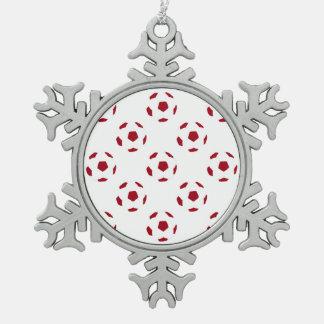 Dark Red Soccer Ball Pattern Snowflake Pewter Christmas Ornament