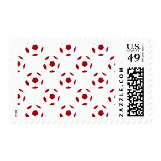Dark Red Soccer Ball Pattern Postage Stamps