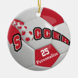 Dark Red Soccer Ball | Personalize Ceramic Ornament
