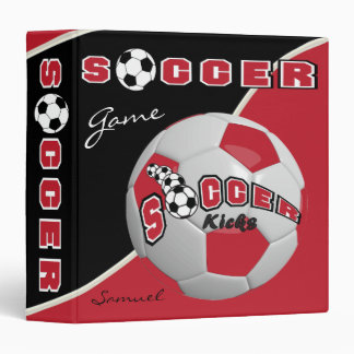 Dark Red Soccerball Game | Personalize Vinyl Binder