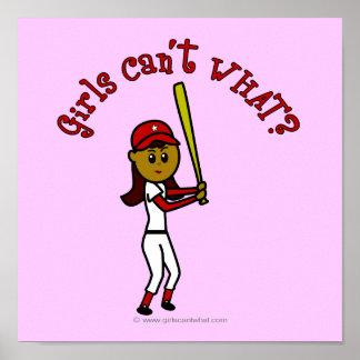 Dark Red Softball Poster