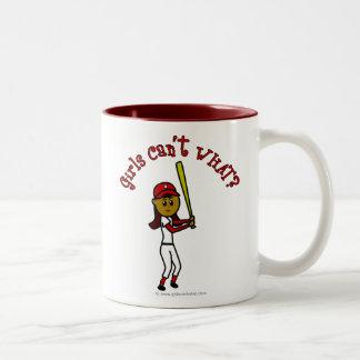 Dark Red Softball Two-Tone Coffee Mug