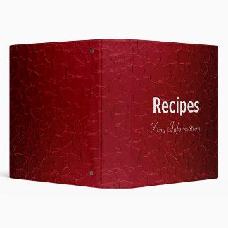 Dark red stainless steel metal   Recipes binders