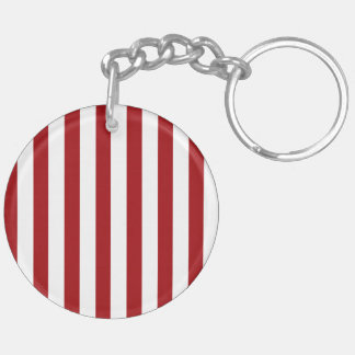 Dark Red Stripes (Add 2nd Color) Double-Sided Round Acrylic Keychain