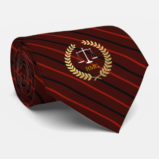 Dark Red Stripes Custom Initials Lawyer Neck Tie