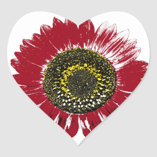 Dark Red Sunflower Heart Sticker