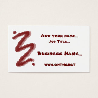 Dark red swirl with shadow red text business card