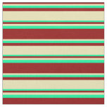 [ Thumbnail: Dark Red, Tan, and Green Stripes/Lines Pattern Fabric ]
