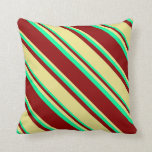 [ Thumbnail: Dark Red, Tan, and Green Stripes/Lines Pattern Throw Pillow ]