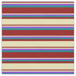 [ Thumbnail: Dark Red, Tan, Purple & Teal Colored Stripes Fabric ]