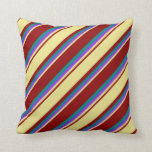 [ Thumbnail: Dark Red, Tan, Purple & Teal Colored Stripes Throw Pillow ]
