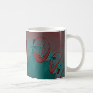 Dark Red, Teal and Turquoise Abstract Design. Coffee Mug