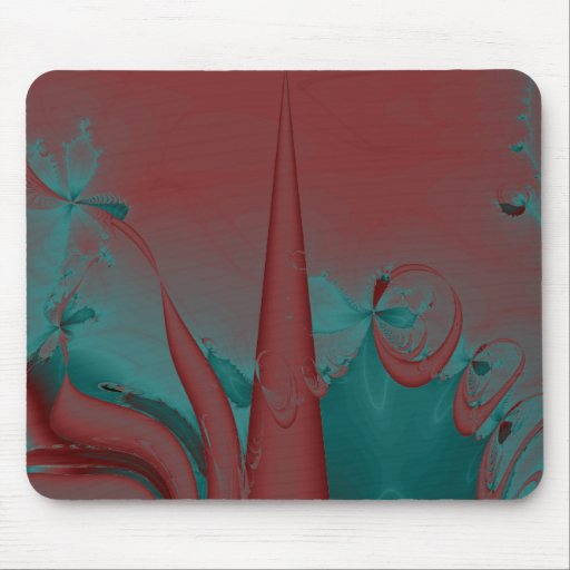 Dark Red, Teal and Turquoise Abstract Design. Mouse Pad