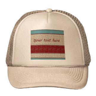 Dark Red & Teal Bordered Floral design Hat
