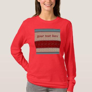 Dark Red & Teal Bordered Floral design T-Shirt