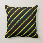 [ Thumbnail: Dark Red, Teal, Yellow & Black Lines Throw Pillow ]