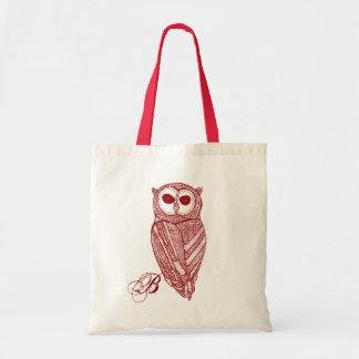 Dark Red Tones Line Drawing Owl Tote Bag