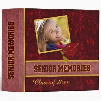 Dark Red Traditional Style Class Senior Memories 3 Ring Binder