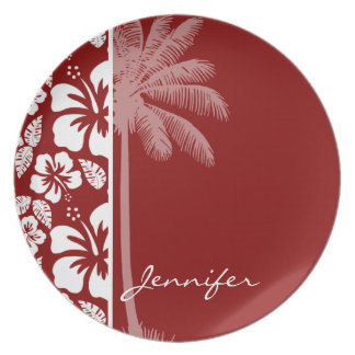 Dark Red Tropical Hibiscus; Palm Dinner Plates