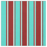 [ Thumbnail: Dark Red, Turquoise, and Mint Cream Colored Lines Fabric ]