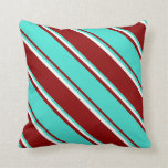[ Thumbnail: Dark Red, Turquoise, and Mint Cream Colored Lines Throw Pillow ]