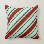 [ Thumbnail: Dark Red, Turquoise & Light Green Colored Pattern Throw Pillow ]